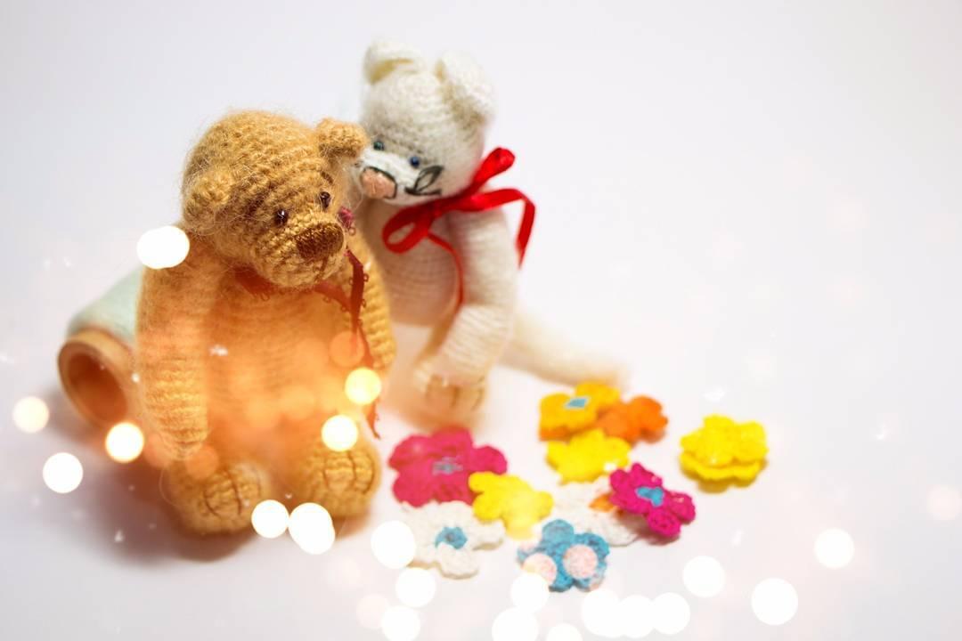 Crocheted Teddy Bear and Cat