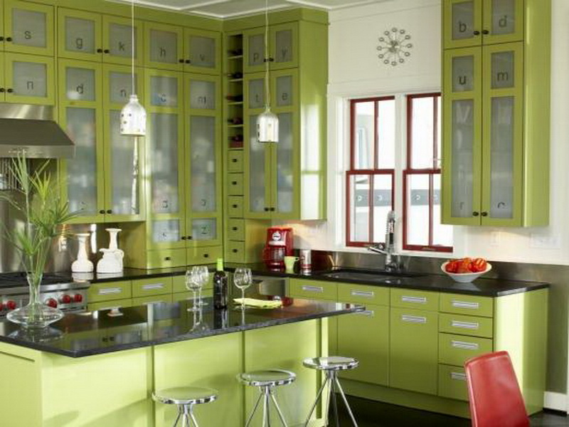 Tips And Ideas For The Olive Green Kitchen Virily - Green colour kitchen cabinets