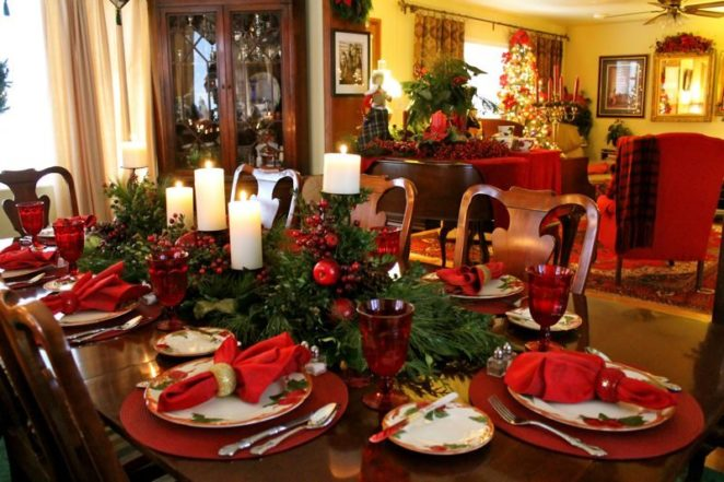red green romance - Green Christmas Table Decorations